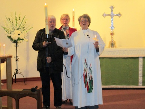 Churchwardens Brian Walter, Jackie-Drake Smith, and the Rev'd Stefanie Hodges at the special jubilee service.