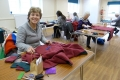 Hard at work making blessing blankets.