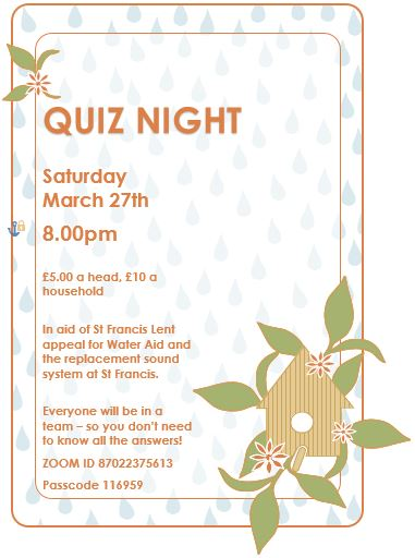 Zoom Quiz night March